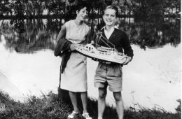 Biene and Walter with Model Boat