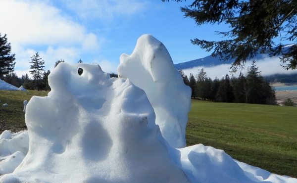Nature's Snow Sculptures Melting in the Warm Air