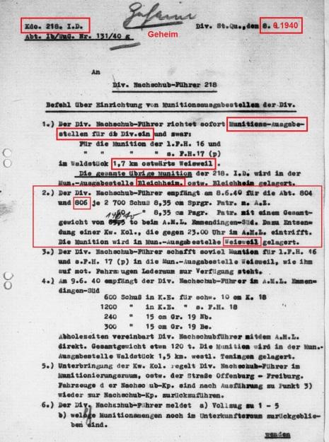Mun.befehl 806 vom 8.6.1940