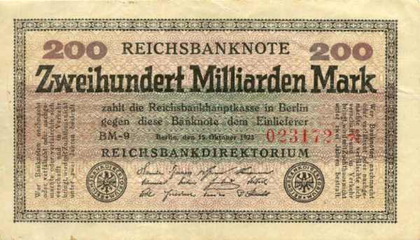 A 200,000,000,000 Reichsmark bill worth next to Nothing