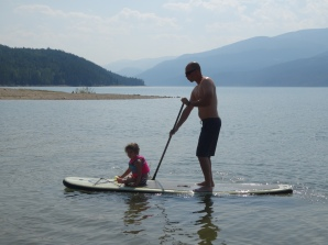 Michael on the Paddle Board with Azure
