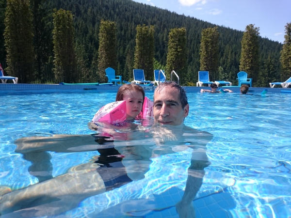 Richard and Emeline Relaxing in the Pool