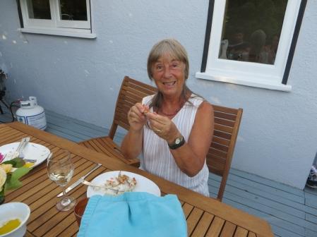 Biene Enjoying a Lobster Meal