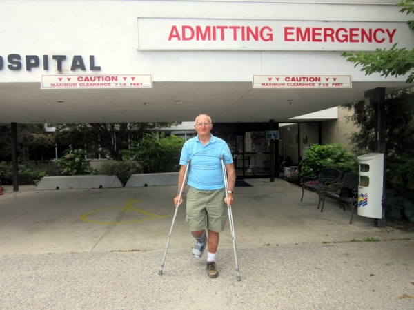 Peter on Crutches at the Arrow Lakes Hospital