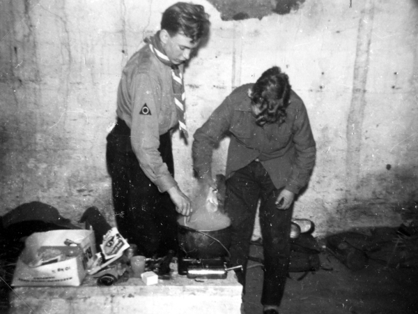 Hans and a Fellow Scout Preparing a Meal for the Clan