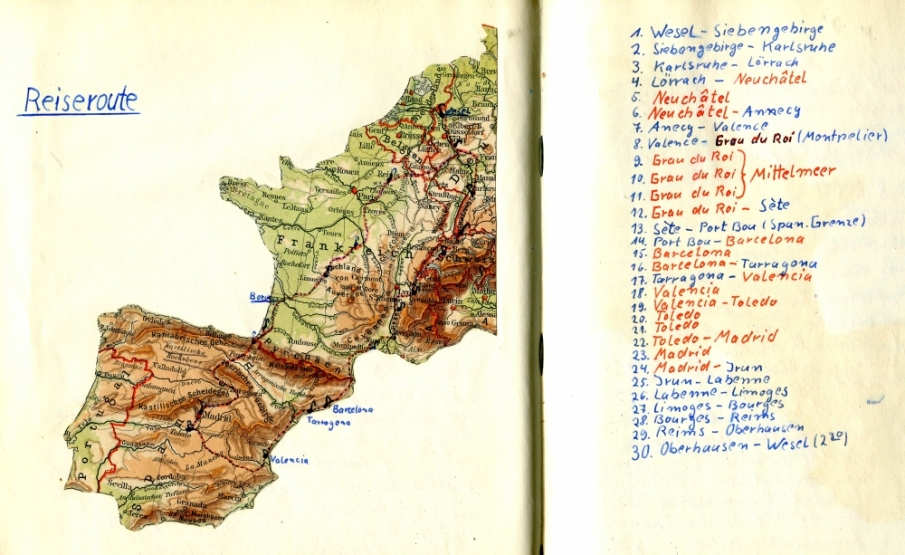 The Itinerary of our Trip to Spain 1960