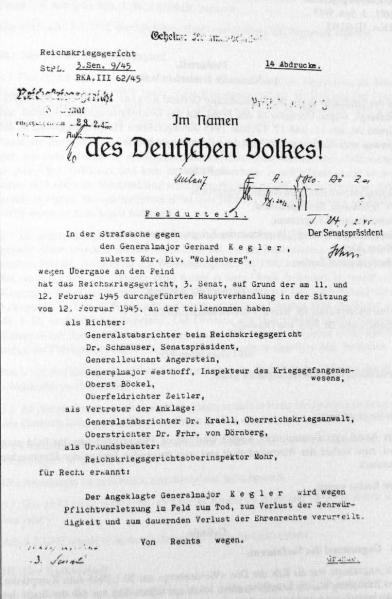 The Death Sentence of Major-General Gerhard Kegler