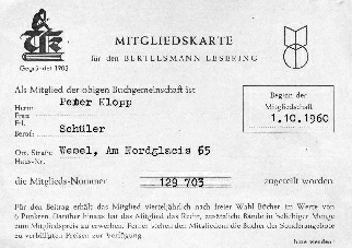 Membership Card for the Bertelsmann Book Club
