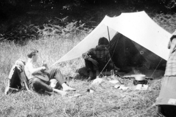 Hans Playing the Guitar and Helmut Sitting in frontofmy Tent