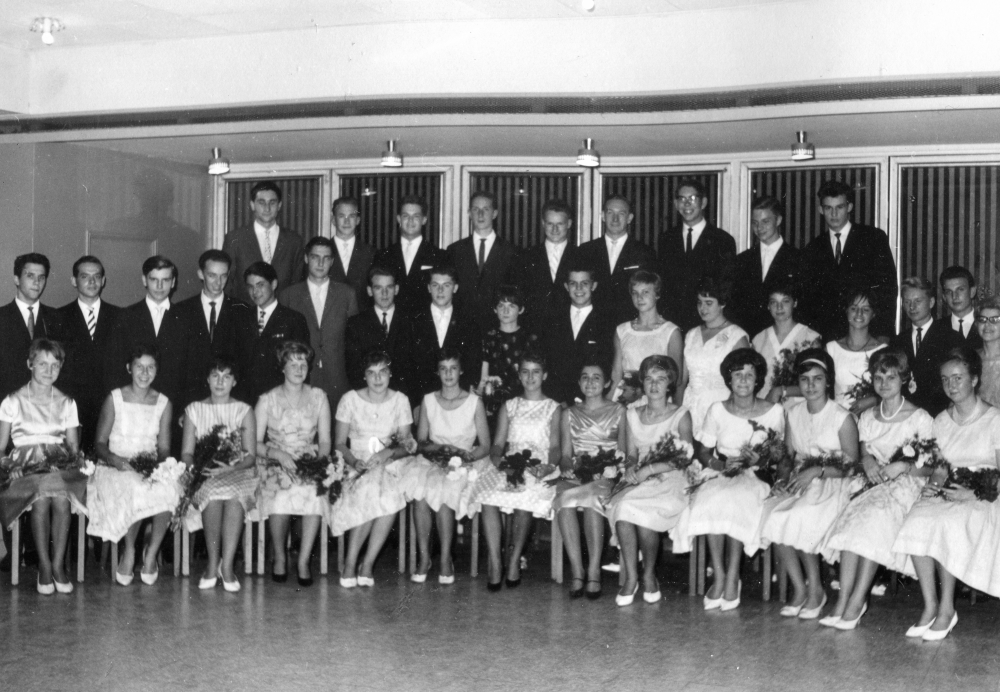 Dance Graduation Class at Wesel - Peter in the Upper Row on the Far Left - 1962