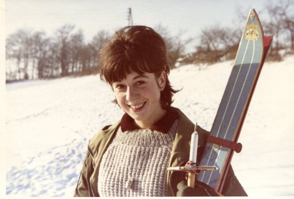 Biene with her first pair of skis - Winter 1963