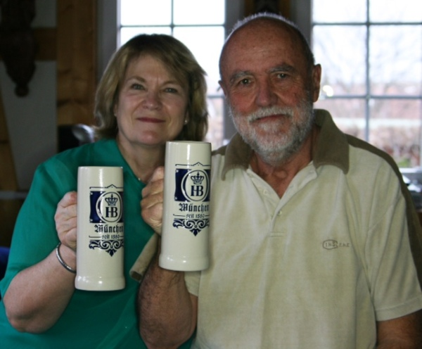 Dieter and Edda Barge - raising their mugs to say 'Happy Birthday!'