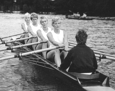 Anje Thieß 1962 (third girl) participating in competitive rowing