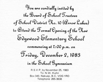 Edgewood School Invitation