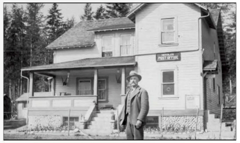 George Craft is seen in front of the Needles Hotel, which was also the post office. He was postmaster from 1920 until his death in 1942, whereupon his wife Edith took over the job. Today all that's left of the old Needles townsite is the cemetery. Courtesy Ed and Marian Craft