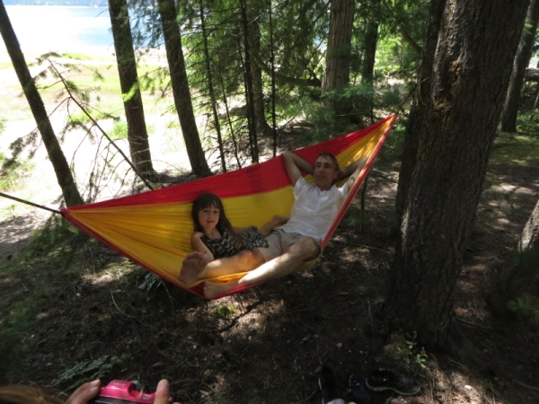 Richard and Emeline Relaxing in Mateo's Hammock